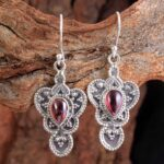 Garnet-Gemstone-Sterling-Silver-Drop-Earrings-for-Women-and-Girls-Bezel-Set-Ear-Wire-Earrings-Red-Bridesmaid-Earrings-B08K6212WN