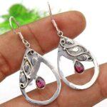 Garnet-Gemstone-Sterling-Silver-Drop-Earrings-for-Women-and-Girls-Bezel-Set-Ear-Wire-Earrings-Red-Bridesmaid-Earrings-B08K62CL82