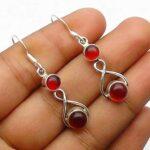 Garnet-Gemstone-Sterling-Silver-Drop-Earrings-for-Women-and-Girls-Bezel-Set-Ear-Wire-Earrings-Red-Bridesmaid-Earrings-B08K63V282