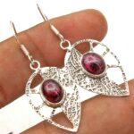 Garnet-Gemstone-Sterling-Silver-Leaf-Drop-Earrings-for-Women-and-Girls-Bezel-Set-Ear-Wire-Earrings-Red-Bridesmaid-Earr-B08K617SZL
