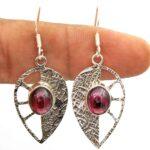 Garnet-Gemstone-Sterling-Silver-Leaf-Drop-Earrings-for-Women-and-Girls-Bezel-Set-Ear-Wire-Earrings-Red-Bridesmaid-Earr-B08K617SZL-2