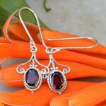 Garnet-Oval-Shaped-Solid-925-Sterling-Silver-Earrings-Handmade-Jewelry-B07J3SBZ2Z-2