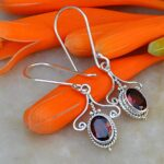 Garnet-Oval-Shaped-Solid-925-Sterling-Silver-Earrings-Handmade-Jewelry-B07J3SBZ2Z-4