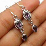 Genuine-Pear-Oval-amethyst-Gemstone-Sterling-Silver-2-tier-Drop-Earrings-for-Women-Bezel-Set-Ear-Wire-Earrings-Purple-B08HHZSNTC