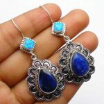 Genuine-Pear-sapphire-Gemstone-Sterling-Silver-2-tier-Drop-Earrings-for-Women-Bezel-Set-Ear-Wire-Earrings-Blue-Bridesm-B08HHZPW53