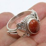 Gold-Sun-Stone-925-Sterling-Silver-Statement-Ring-Jewelry-B07QM9T4C2