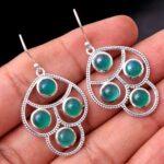 Green-Onyx-Gemstone-Sterling-Silver-4-Stone-Dangle-Earrings-for-Women-and-Girls-Bezel-Set-Ear-Wire-Earrings-Green-Brid-B08K645SNJ