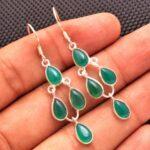 Green-Onyx-Gemstone-Sterling-Silver-Designer-Drop-Earrings-for-Women-and-Girls-Bezel-Set-Ear-Wire-Earrings-Green-Bride-B08K61G6RQ-2