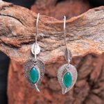 Green-Onyx-Gemstone-Sterling-Silver-Leaf-Drop-Earrings-for-Women-and-Girls-Bezel-Set-Ear-Wire-Earrings-Green-Bridesmai-B08K636F4R-2