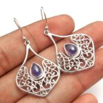 Iolite-Gemstone-Sterling-Silver-Filigree-Drop-Earrings-for-Women-and-Girls-Bezel-Set-Ear-Wire-Earrings-Blue-Bridesmaid-B08K65GMBY
