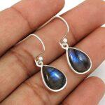 Labradorite-Gemstone-Earring-925-Sterling-Silver-Earring-Solid-Silver-Jewelry-Handmade-Jewelry-Dangle-Earring-Drop-B084D1QF8Y
