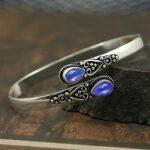 Lapis-Lazuli-Gemstone-Cuff-BraceletSolid-925-Sterling-Silver-BraceletPear-Shape-BraceletBraceletGift-For-Her-B084ZRSLLL