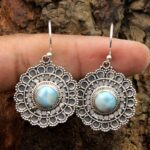 Larimar-Gemstone-Sterling-Silver-Designer-Dangle-Earrings-for-Women-and-Girls-Bezel-Set-Ear-Wire-Earrings-Blue-Bridesm-B08K624XPL-3