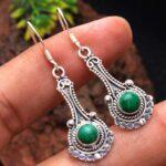 Malachite-Gemstone-Sterling-Silver-Drop-Earrings-for-Women-and-Girls-Bezel-Set-Ear-Wire-Earrings-Green-Bridesmaid-Earr-B08K5YD1H7