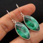 Malachite-Gemstone-Sterling-Silver-Drop-Earrings-for-Women-and-Girls-Bezel-Set-Ear-Wire-Earrings-Green-Bridesmaid-Earr-B08K64BJ91