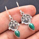 Malachite-Gemstone-Sterling-Silver-Halloween-Drop-Earrings-for-Women-and-Girls-Bezel-Set-Ear-Wire-Earrings-Green-Bride-B08K631ZLV-2