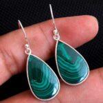 Malachite-Gemstone-Sterling-Silver-Long-Drop-Earrings-for-Women-and-Girls-Bezel-Set-Ear-Wire-Earrings-Green-Bridesmaid-B08K62BM4X