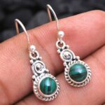 Malachite-Gemstone-Sterling-Silver-Small-Drop-Earrings-for-Women-and-Girls-Bezel-Set-Ear-Wire-Earrings-Green-Bridesmai-B08K5XMGXN-2