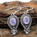 Moonstone-Gemstone-Sterling-Silver-Drop-Earrings-for-Women-and-Girls-Bezel-Set-Ear-Wire-Earrings-White-Bridesmaid-Earr-B08K5YG37V