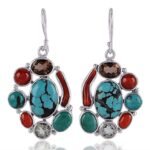 Natural-Multi-Stones-925-Sterling-Silver-Dangle-Earrings-B07TK5PX8K