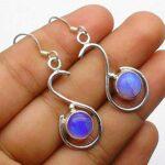 Opalite-Gemstone-Sterling-Silver-Drop-Earrings-for-Women-and-Girls-Bezel-Set-Ear-Wire-Earrings-Blue-Bridesmaid-Earring-B08K6231M8