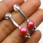 Pearl-Gemstone-Sterling-Silver-Drop-Earrings-for-Women-and-Girls-Bezel-Set-Pushback-Earrings-Red-Bridesmaid-Earrings-B08K622Z1V
