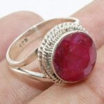 Red-Ruby-925-Sterling-Silver-Solitaire-Ring-for-Women-Halo-Ring-Handmade-Ring-B07L2VKK9K