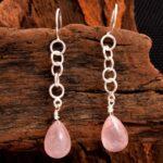 Rose-Quartz-Gemstone-Sterling-Silver-Chain-Drop-Earrings-for-Women-and-Girls-Bezel-Set-Ear-Wire-Earrings-PInk-Bridesma-B08K62KLTG