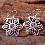 Rose-Quartz-Gemstone-Sterling-Silver-Rangoli-Decoration-Drop-Earrings-for-Women-and-Girls-Bezel-Set-Ear-Wire-Earrings-B08K66D5MY-2