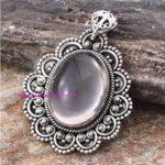 Rose-Quartz-Pendant-925-Sterling-Silver-Pendants-for-Womens-Oval-Gemstone-Pendants-Handmade-October-Birthstone-Pendan-B07V6Y8C69