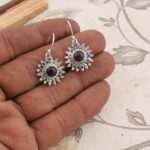 Round-Amethyst-Earrings-Dangle-Earrings-Drop-Earrings-Sterling-Silver-Earrings-for-Summer-Gift-B07S35DDMB