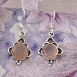 Round-Rose-Quartz-Earrings-Floral-Dangle-Earrings-Drop-Earrings-Silver-Earrings-for-Summer-Gift-B07S34WNTN