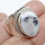 Royal-Dendritic-Opal-925-Sterling-Silver-Halo-Ring-Jewelry-B07QP7W5DX
