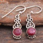 Ruby-Gemstone-Sterling-Silver-Drop-Earrings-for-Women-and-Girls-Bezel-Set-Ear-Wire-Earrings-Red-Bridesmaid-Earrings-B08K619QNZ-2