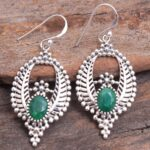Sakota-Mine-Emerald-Gemstone-Sterling-Silver-Leaf-Drop-Earrings-for-Women-and-Girls-Bezel-Set-Ear-Wire-Earrings-Green-B08K62B3PS-2