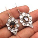 Smokey-Quartz-Gemstone-Sterling-Silver-Designer-Drop-Earrings-for-Women-and-Girls-Bezel-Set-Ear-Wire-Earrings-Brown-Br-B08K63RSY1