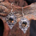 Smokey-Quartz-Gemstone-Sterling-Silver-Designer-Drop-Earrings-for-Women-and-Girls-Bezel-Set-Ear-Wire-Earrings-Brown-Br-B08K63RSY1-2