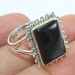 Solid-925-Sterling-Silver-Black-Onyx-Gemstone-Ring-Jewelry-B07QM9SSBC