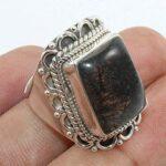 Solid-925-Sterling-Silver-Black-Rutile-Quartz-Ring-Jewelry-B07QM9T1PH