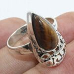 Solid-925-Sterling-Silver-Tigers-Eye-Gemstone-Ring-Jewelry-B07QN897CS