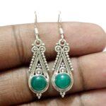 Solid-Sterling-Silver-Green-Onyx-Vintage-Earrings-B07JFQF9BW