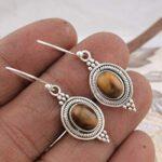 Sterling-Silver-Earrings-for-Halloween-Gift-Dangle-Earrings-Oval-Tiger-Eye-Earring-Drop-Earrings-B07SPLLDV5