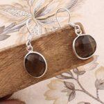Sterling-Silver-Earrings-for-Women-Dangle-Earrings-Oval-Smoky-Quartz-Earring-Drop-Earrings-B07SRZC2KK