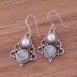 Sterling-Silver-Earrings-for-Women-Dangle-Earrings-Round-Pearl-Moonstone-Earrings-Drop-Earrings-B07SPLMJS6
