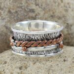 Stylish-925-Sterling-Silver-Spinner-Ring-Textured-Ring-for-Women-B07L2THX57