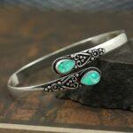 Tibbatian-Turquoise-Gemstone-Cuff-BraceletSolid-925-Sterling-Silver-BraceletPear-Shape-BraceletBraceletGift-For-Her-B084ZRT43S