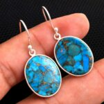 Turquoise-Gemstone-Sterling-Silver-Dangle-Earrings-for-Women-and-Girls-Bezel-Set-Ear-Wire-Earrings-Blue-Copper-Turquoi-B08K64VWFY