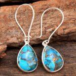 Turquoise-Gemstone-Sterling-Silver-Drop-Earrings-for-Women-and-Girls-Bezel-Set-Ear-Wire-Earrings-Blue-Copper-Turquoise-B08K61W6ZK