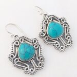 Turquoise-Matrix-Solid-925-Sterling-Silver-Earrings-Handmade-Jewelry-B07JDSZQJL