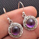 amethyst-Gemstone-Sterling-Silver-Small-Dangle-Earrings-for-Women-and-Girls-Bezel-Set-Ear-Wire-Earrings-Purple-Bridesm-B08K62H82N-2